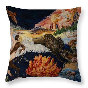Throw Pillow featuring the painting All My Relatives by Dawn Senior-Trask