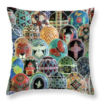 All Ostrich Eggs Collage Throw Pillow