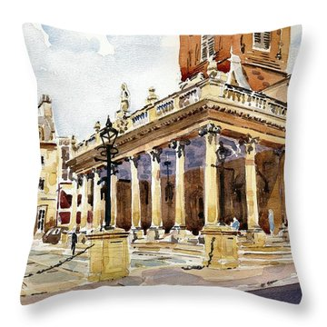 Throw Pillow featuring the painting All Saints Church Northampton by David Gilmore