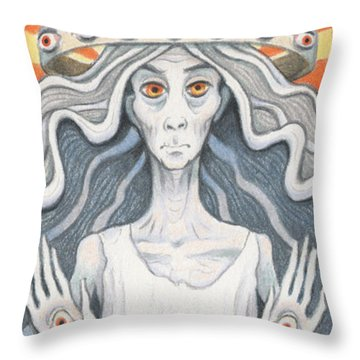 All-seeing Sage Throw Pillow by Amy S Turner