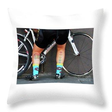 Throw Pillow featuring the photograph All Star Cyclist by Joe Jake Pratt