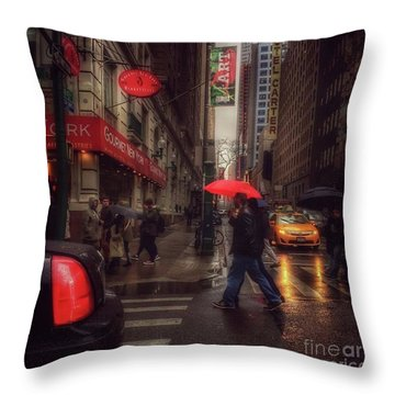 All That Jazz. New York In The Rain. Throw Pillow