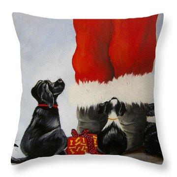 All The Fur Kids Love Santa Throw Pillow