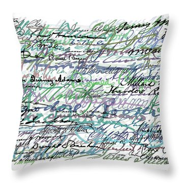 All The Presidents Signatures Teal Blue Throw Pillow by Tony Rubino