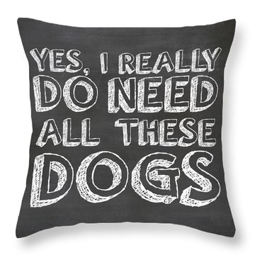 Throw Pillow featuring the digital art All These Dogs by Nancy Ingersoll