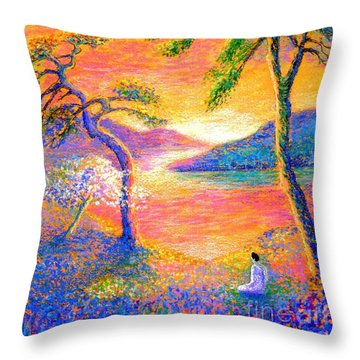 Buddha Meditation, All Things Bright And Beautiful Throw Pillow by Jane Small