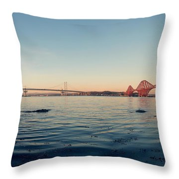 All Three Bridges Throw Pillow by Ray Devlin