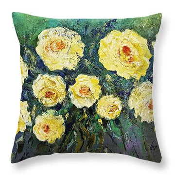 All Yellow Roses Throw Pillow