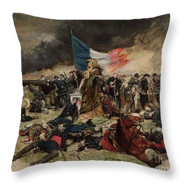 Allegory Of The Siege Of Paris Throw Pillow by Jean Louis Ernest Meissonier