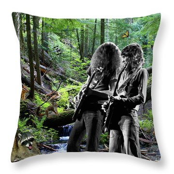 Throw Pillow featuring the photograph Allen And Steve Jam With Friends On Mt. Spokane by Ben Upham