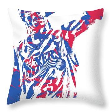 Allen Iverson Philadelphia 76ers Pixel Art 14 Throw Pillow