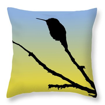 Allen's Hummingbird Silhouette At Sunrise Throw Pillow