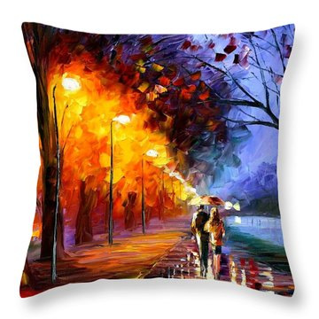 Alley By The Lake Throw Pillow by Leonid Afremov
