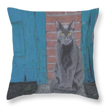 Alley Cat Throw Pillow by Arlene Crafton