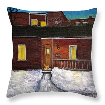Alley Cat House Throw Pillow