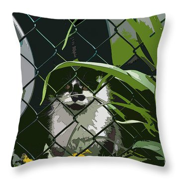 Alley Cat Throw Pillow by Reb Frost