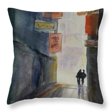 Alley In Chinatown Throw Pillow