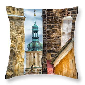 Alley In Prague Old Town Throw Pillow