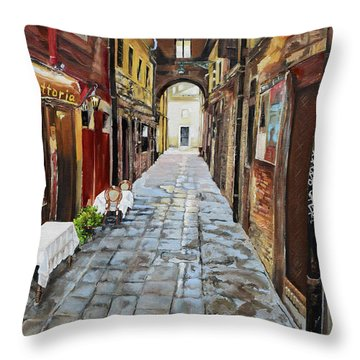 Throw Pillow featuring the painting Alley On Parangon In Venice by Jan Dappen
