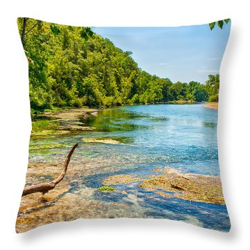 Throw Pillow featuring the photograph Alley Springs Scenic Bend by John M Bailey