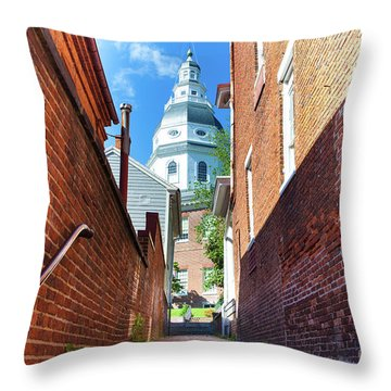 Alley View Of Maryland State House  Throw Pillow