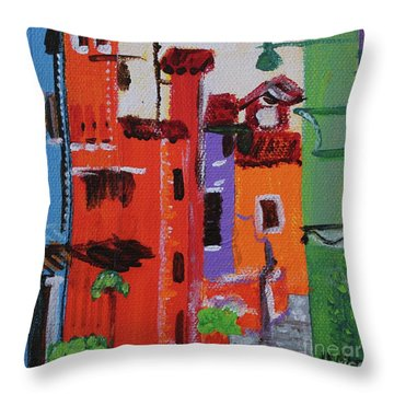 Throw Pillow featuring the painting Alley Walk by Kim Nelson