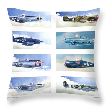 Allied Fighters Of The Second World War Throw Pillow