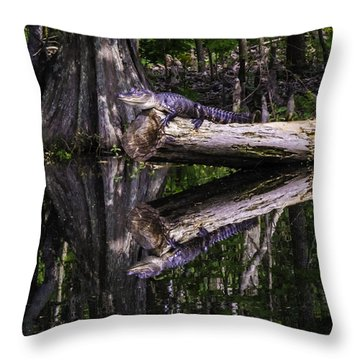 Alligators The Hunt, New Orleans, Louisiana Throw Pillow