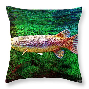 Alligator Gar Fish  Throw Pillow by Merton Allen