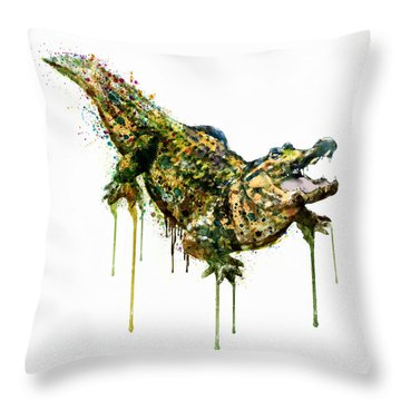 Alligator Watercolor Painting Throw Pillow by Marian Voicu