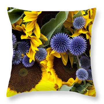Allium And Sunflowers Throw Pillow