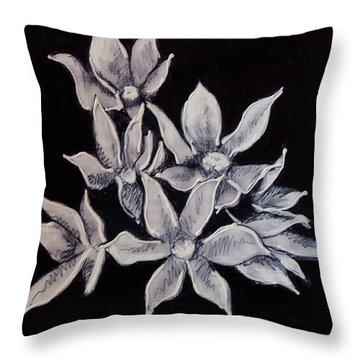Throw Pillow featuring the painting Allium Moly by Kym Nicolas