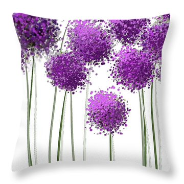 Throw Pillow featuring the painting Alliums Flower Art - Purple And Gray Art by Lourry Legarde