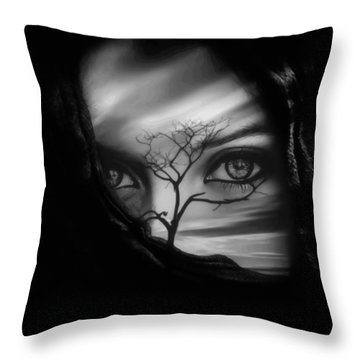 Allure Of Arabia Black Throw Pillow