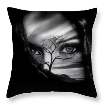 Allure Of Arabia Blue Throw Pillow by ISAW Gallery