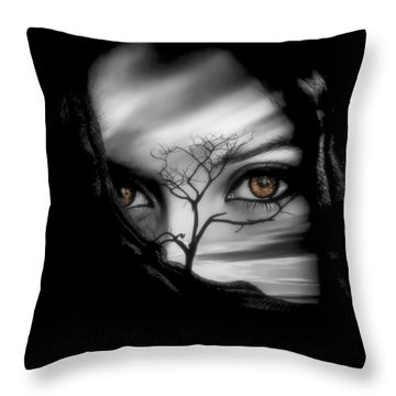 Allure Of Arabia Brown Throw Pillow by ISAW Gallery