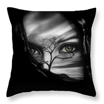 Allure Of Arabia Green Throw Pillow by ISAW Gallery