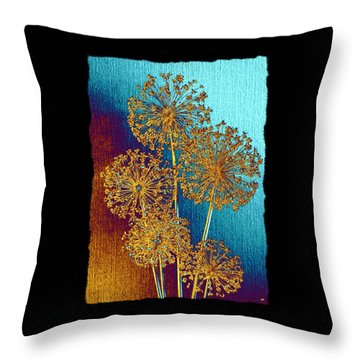 Throw Pillow featuring the mixed media Alluring Allium Abstract 2 by Will Borden