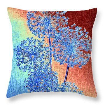 Throw Pillow featuring the mixed media Alluring Allium Abstract by Will Borden