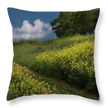 Almaden Meadows' Mustard Blossoms Throw Pillow
