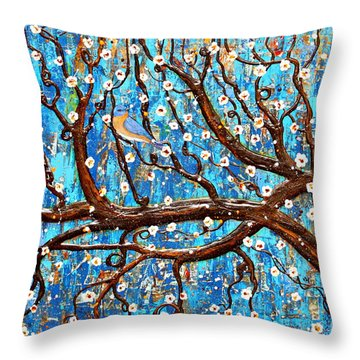 Throw Pillow featuring the mixed media Almond Blossoms by Natalie Briney