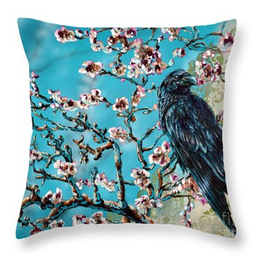 Almond Branch And Raven Throw Pillow