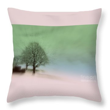 Throw Pillow featuring the photograph Almost A Dream - Winter In Switzerland by Susanne Van Hulst