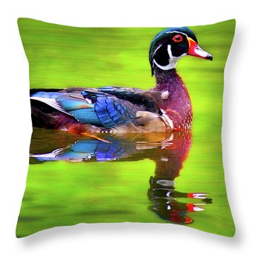 Throw Pillow featuring the photograph Almost Perfect Wood Duck by Jean Noren