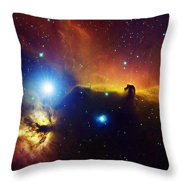 Alnitak Region In Orion Flame Nebula Throw Pillow by Filipe Alves