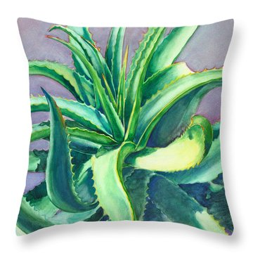 Aloe Vera Watercolor Throw Pillow