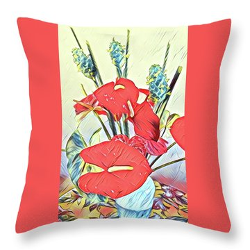 Aloha Bouquet Of The Day - Anthuriums And Green Ginger In Blue Throw Pillow