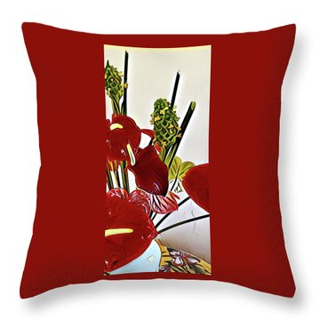 Aloha Bouquet Of The Day - Anthuriums In Darkl Red With Green Ginger - A Portion Throw Pillow
