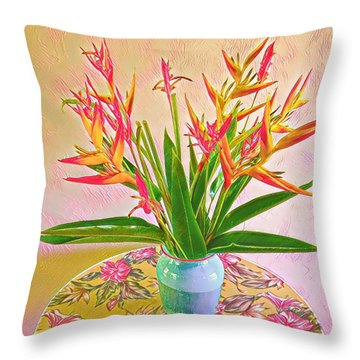 Aloha Bouquet Of The Day Halyconia And Birds In Pink Throw Pillow