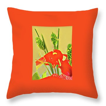 Aloha Bouquet Of The Day -- Red Anthuriums With Green Ginger, A Portion  Throw Pillow